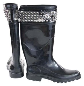 Burberry Rubber Studded Rain Black Boots