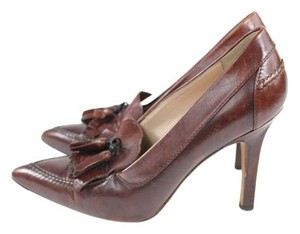 Manolo Blahnik Tassels Oxford Heels Brown Stilettos Sandals