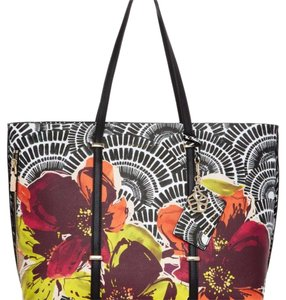 Trina Turk Tote in black, white, yellows and reds
