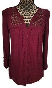 Anthropologie Sheer Panel Rayon Top Burgundy