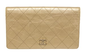 Chanel Chanel Gold Quilted Crinkled Leather CC Bi-Fold L-Yen Wallet