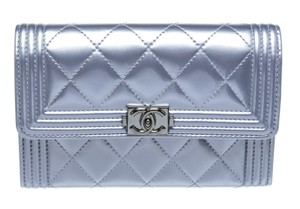 Chanel Chanel Silver Patent Quilted Leather Boy Card Holder Wallet