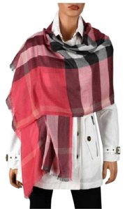 Burberry New Half Mega Check Silk Cashmere Scarf Pink Bright Rose