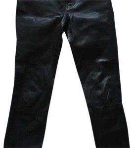 J Brand Leather Denim Skinny Pants black