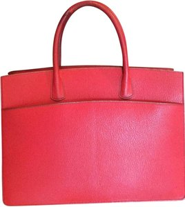Hermès Leather Work Leather Handle Green Handbag Tote in Red