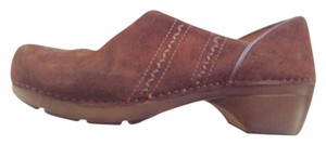 Dansko Stitching Detail Brown Suede Mules