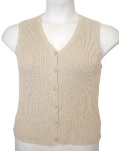 INC International Concepts Vest Shirt All Linen Sleeveless Button Down Shirt Beige