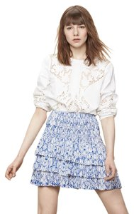 Maje Mini Ruffled Spring/summer Cute Bohemian Chic Mini Skirt blue and white