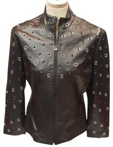 St. John Beautiful Black Gray Leather Jacket