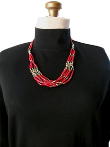 Other Red Silver Navtive American Beadwork Neclace