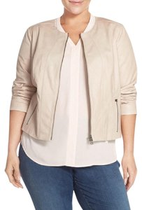 Halogen Beige Leather Jacket