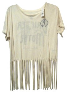 Freeze Fringed Fringed T Shirt Cream