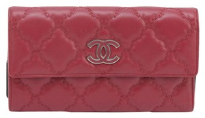 Chanel Chanel 13P Quilted Red Leather HAMPTON Long Wallet Trifold Flap Silver