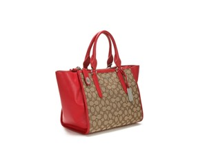 Coach Satchel Crossbody Leather Fabric Signature Tote in KHAKI / TRUE RED