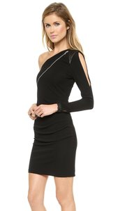 Cut25 One Shoulder Zippered Front Lbd Leather Trim Dress