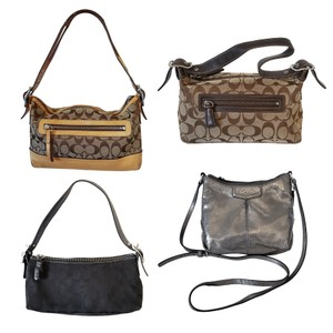 Coach Baguette Signature Jacquard Metallic Leather Cross Body Bag