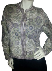 Reversible brown, green, beige, floral & checked Jacket
