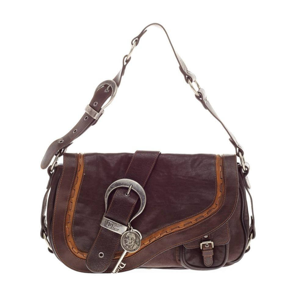 Dior Christian Medium Gaucho Saddle Brown Leather Shoulder Bag - Tradesy beeb63fa2f337