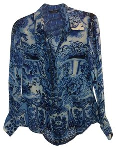 Roberto Cavalli Top Blue & White