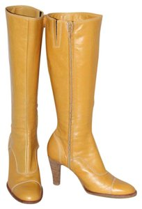 Coclico Leather Knee High Zipper Yellow Boots