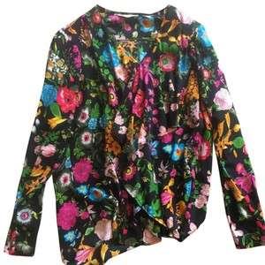 Anthropologie Top black with colorful flower accents