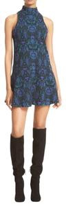 Free People short dress blue Boho Brocade Mockneck on Tradesy