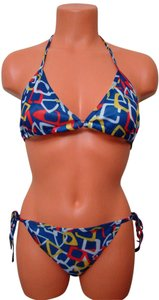 Chun - Blue Multi Color Geometrical Tie String Bikini Swimwear 1 Size Fits Most