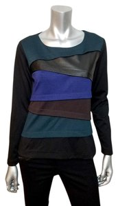 Finley Leather Tiered Longsleeve Top Black, Blue, Teal