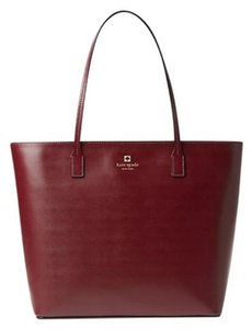 Kate Spade Leather Burgundy Tori Tote in Wine/burgundy