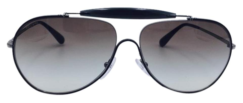 49a09a86e4b Prada Distant Aviator Silver and Black Prada Sunglasses SPR56S 7AX-500 59  Image 0 ...