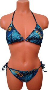 Other Chun - Multi Color Blue Geometrical Tie String Bikini Swimwear 1 Size Fits Most