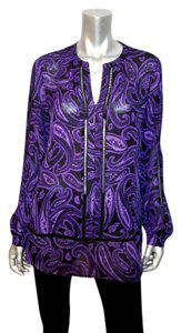 Michael Kors Paisley Tunic Longsleeve Top Black, Purple