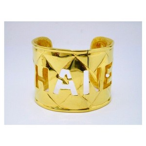 Chanel Vintage Gold-Tone Quilted Pattern Letter Cuff Bracelet