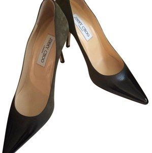 Jimmy Choo Olive green w/ black patent Pumps