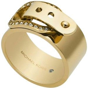Michael Kors NWT Michael Kors Cityscape Gold Tone Pave Buckle Band Ring Size 8