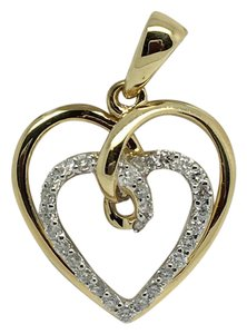 Other 14K Two-Tone Gold Double Open Heart Natural Diamond Pendant