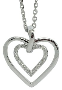 Other 14K White Gold Double Open Hearts Diamond Pendant