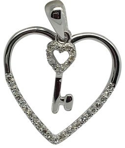 Other 14K White Gold Open Heart with Key Diamond Pendant