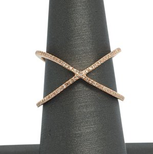 Other 14K Rose Gold Natural Diamond X Crisscross Ring