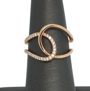 Other 14K Rose Gold Interlocking Natural Diamond Ring