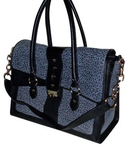 Bodhi Animal Exotic Ladylike Classic Leather Satchel in Gray/Black Cheetah Print
