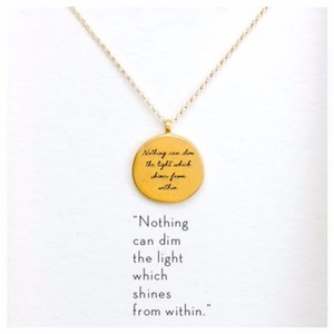 Other DF15 Gold Nothing Can Dim The Light From Within Necklace & Card