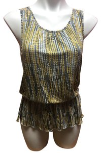 Banana Republic Geometric Sleeveless Button Top Yellow/Gray