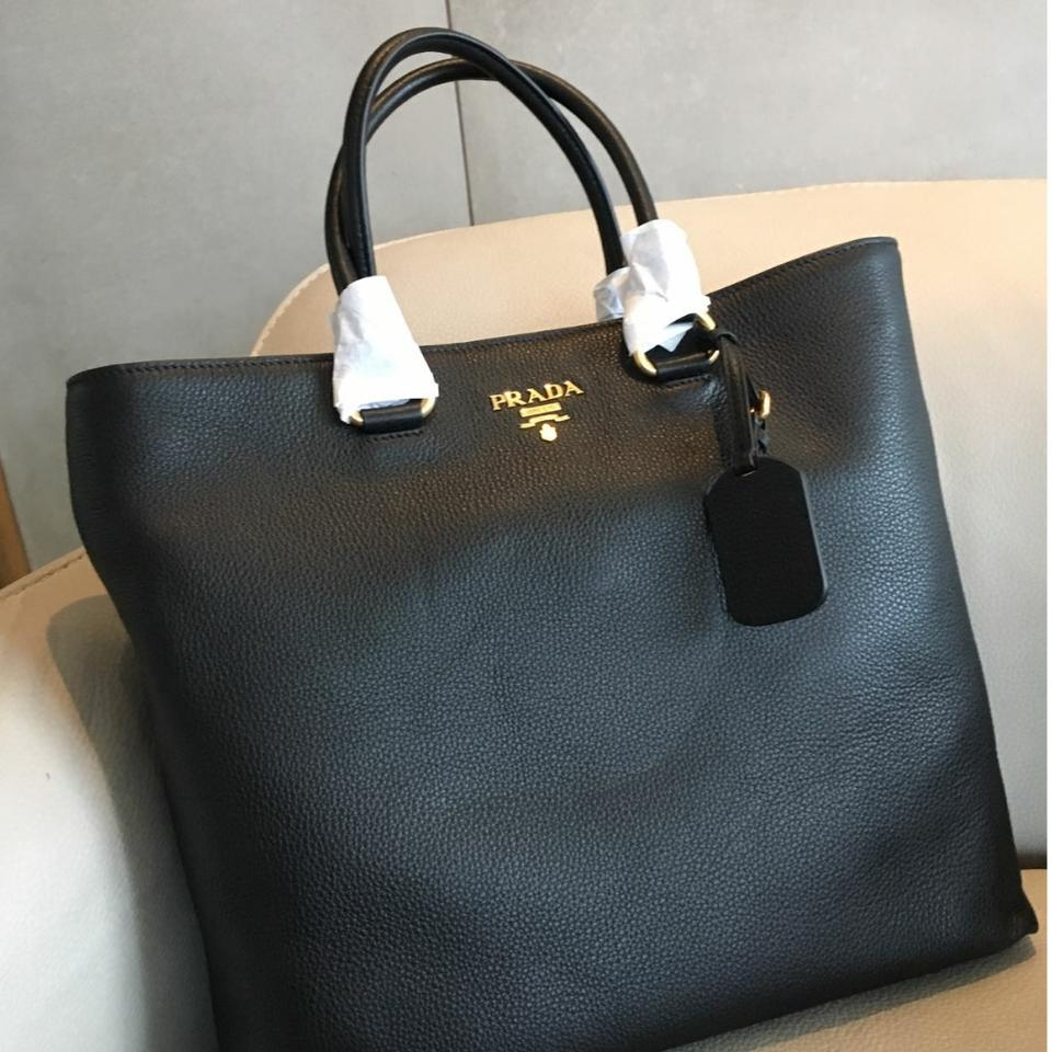Prada 1bg865 Vitello Phenix Black Tote Bag On Tradesy