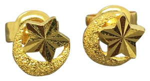 Other 14K Solid Gold Moon and Star Stud Earrings