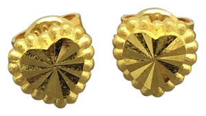 Other 24K Solid Gold Diamond Cut Heart Stud Earrings