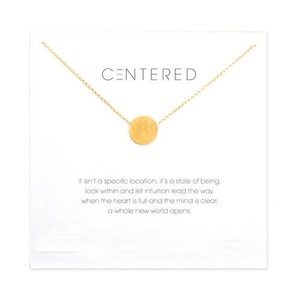 Other DF15 18K Gold Dipped Dainty Centered Circle Necklace & Card