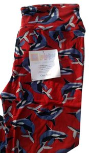 LuLaRoe Print Whales Dolphins Red Nwt Red Multi Leggings