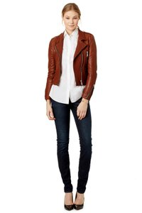 Barbara Bui Leather Moto Motorcycle Designer Brown Leather Jacket