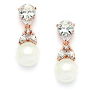 Mariell Stunning Rose Gold Crystal Pears & Pearl Drop Bridal Earrings